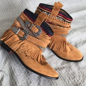 Zara fringe suede western buckle stacked boho boot